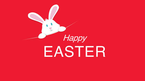 Animated closeup Happy Easter text and rabbit on red background Videos animados