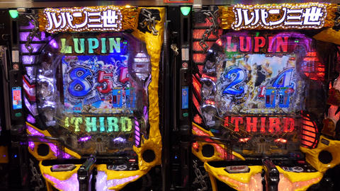 Video Screen Of Pachinko Lottery Game In Tokyo Japan Asia Footage
