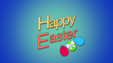Animated closeup Happy Easter text and eggs on blue background Animation