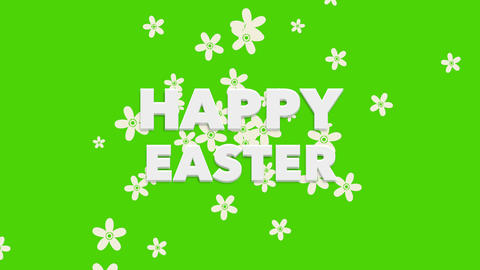 Animated closeup Happy Easter text on green background Animation