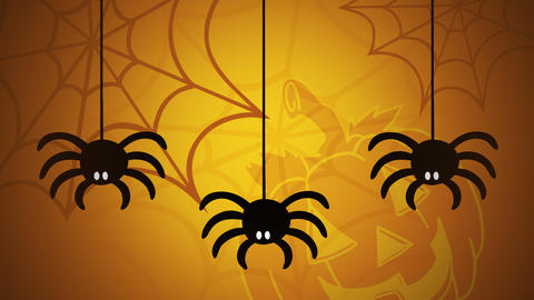 Halloween animation with the spiders and pumpkin on yellow background Videos animados