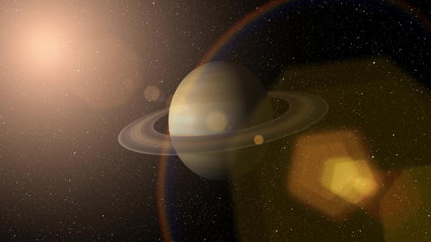 Giant gas planet Saturn and rings CG animation. Realistic 3D rendering of beautiful planet Saturn Animation