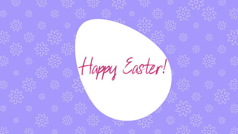 Animated closeup Happy Easter text and egg on purple background Animation
