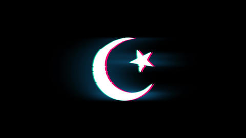 Star and Crescent symbol Islam religion Symbol on Glitch Retro Vintage Animation Live Action