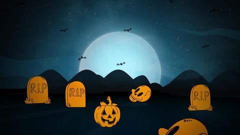 Halloween background animation with the ghosts and bats in cemetery Videos animados