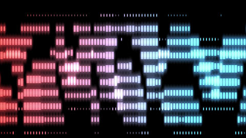Abstract creative neon borders, mosaic tiles. Shiny, glow squares background. Music, sound and Animation