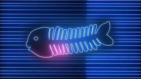 Modern, creative neon fish bone. Technology, food and animal concept. Glowing light with fish Animation
