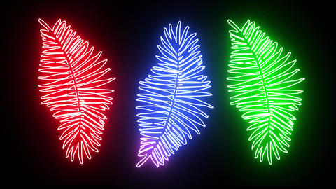 Abstract creative tropical neon flowers background. Shiny leafs design with jungle and technology Animation