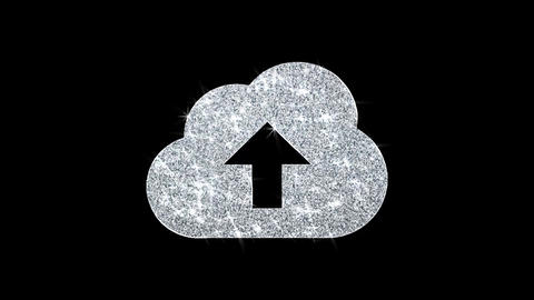 Cloud upload, cloud data, online storage Icon Shining Glitter Loop Blinking Live Action