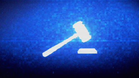 Justice, Hammer Judge Court, law Symbol Digital Pixel Noise Error Animation Live Action