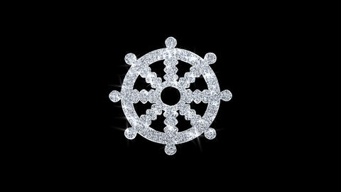 Wheel of Dharma Buddhism religion Icon Shining Glitter Loop Blinking Particles Live Action