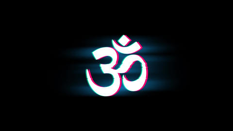 Hinduism, meditation, om, yoga hindu symbol, indian religion Symbol on Glitch Live Action