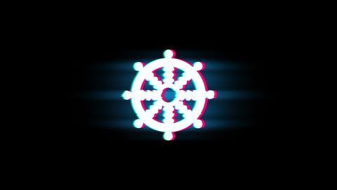Wheel of Dharma Buddhism religion Symbol on Glitch Retro Vintage Animation Live Action