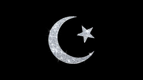 Star and Crescent symbol Islam religion Icon Shining Glitter Loop Blinking Live Action