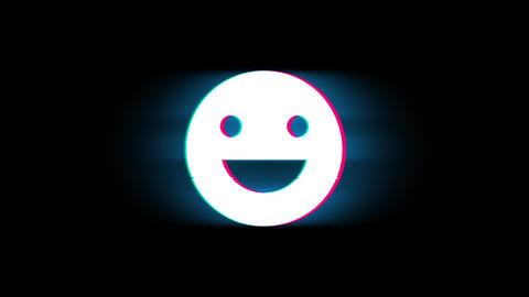 Big Smile Emoji Symbol on Glitch Retro Vintage Animation Live Action