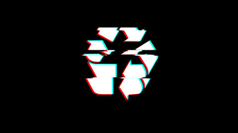 Triangular Arrows Recycle icon Vintage Twitched Bad Signal Animation Live Action