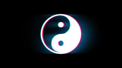 Yin Yang Symbol Of Harmony Symbol on Glitch Retro Vintage Animation Live Action