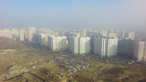 A sunny scenery of an endless residential area Footage