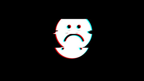 Unhappy Face Symbol icon Vintage Twitched Bad Signal Animation Footage