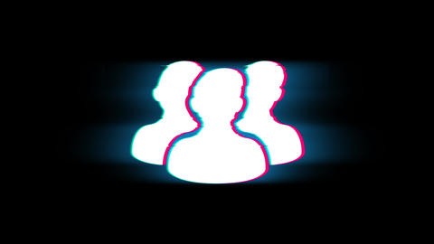 People, Person, Group Symbol on Glitch Retro Vintage Animation Live Action