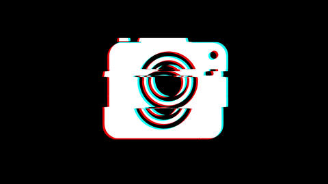 Camera Photography icon Vintage Twitched Bad Signal Animation Footage