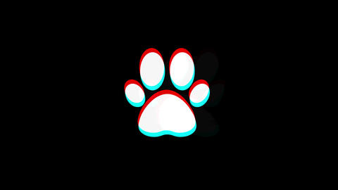 Paw Icon icon Vintage Twitched Bad Signal Animation Live Action