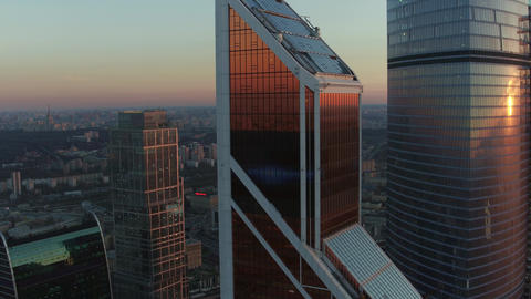 An aerial view of reflective skyscrapers against the urban view Footage