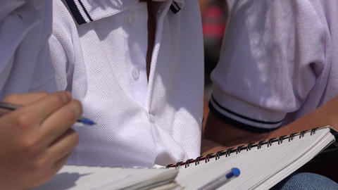 School Children With Notebooks Footage