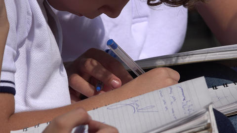 School Kids Writing In Notebooks Footage