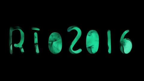 Artistic typography: Rio 2016, whit black smoke Footage