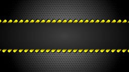 Yellow moving danger tape on metal perforated background Animation