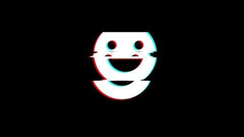 Big Smile Emoji icon Vintage Twitched Bad Signal Animation Live Action