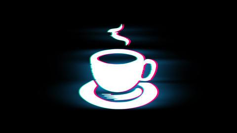 Cup Of Tea Symbol on Glitch Retro Vintage Animation Live Action