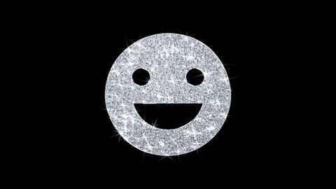 Big Smile Emoji Icon Shining Glitter Loop Blinking Particles Live Action