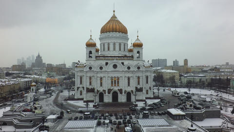Moscow view with Cathedral of Christ the Saviour, backward fly Footage