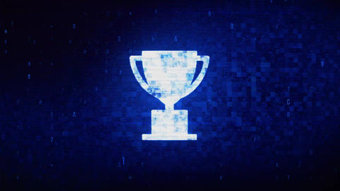 Trophy Win Cup Symbol Digital Pixel Noise Error Animation Stock Video Footage