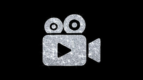 Video Camera Icon Icon Shining Glitter Loop Blinking Particles Live Action
