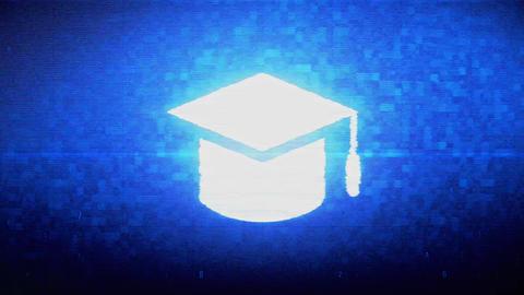 Education, Graduation cap, University hat Symbol Digital Pixel Noise Error Footage