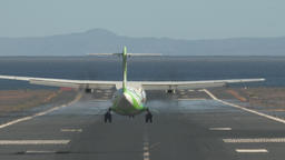 Jetliner arrival. Airplane landing on runway by the sea Footage