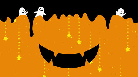 Happy halloween symbol with copyspace. Pumpkin. Smiling face emotion. Smile mouse, teeth, drooling. Animation