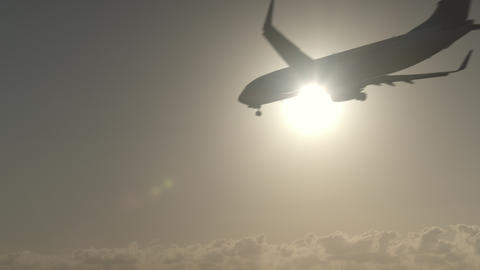 Plane flight against the sunlight Footage