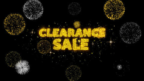 Clearance Sale Text Reveal on Glitter Golden Particles Firework Live Action