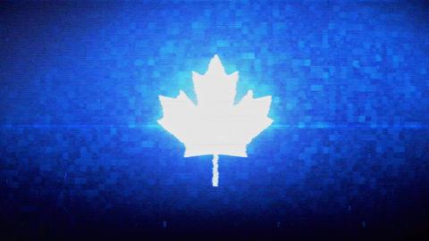Canadian Maple Leaf Symbol Digital Pixel Noise Error Animation Live Action