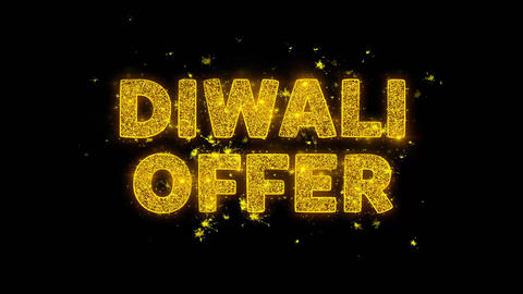 Diwali Offer Text Sparks Particles on Black Background Footage