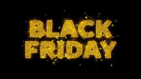 Black Friday Text Sparks Particles on Black Background Live Action