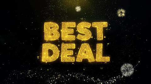 Best Deal Text on Gold Particles Fireworks Display Live Action