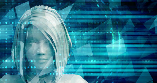 Asian Business Woman Using Digital Solutions Technology Concept Art Footage