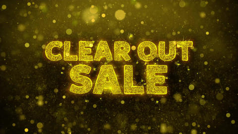 Clear Out Sale Text on Golden Glitter Shine Particles Animation GIF
