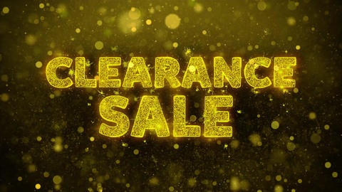 Clearance Sale Text on Golden Glitter Shine Particles Animation Footage