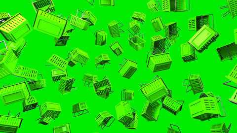 Green Shopping baskets on green background Stock Video Footage
